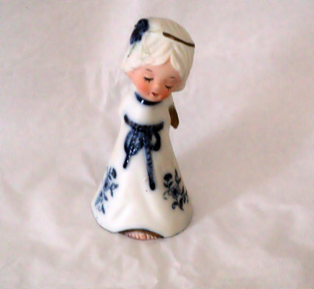 Jasco Blue and White Angel Bell Girl Figurine  #302171