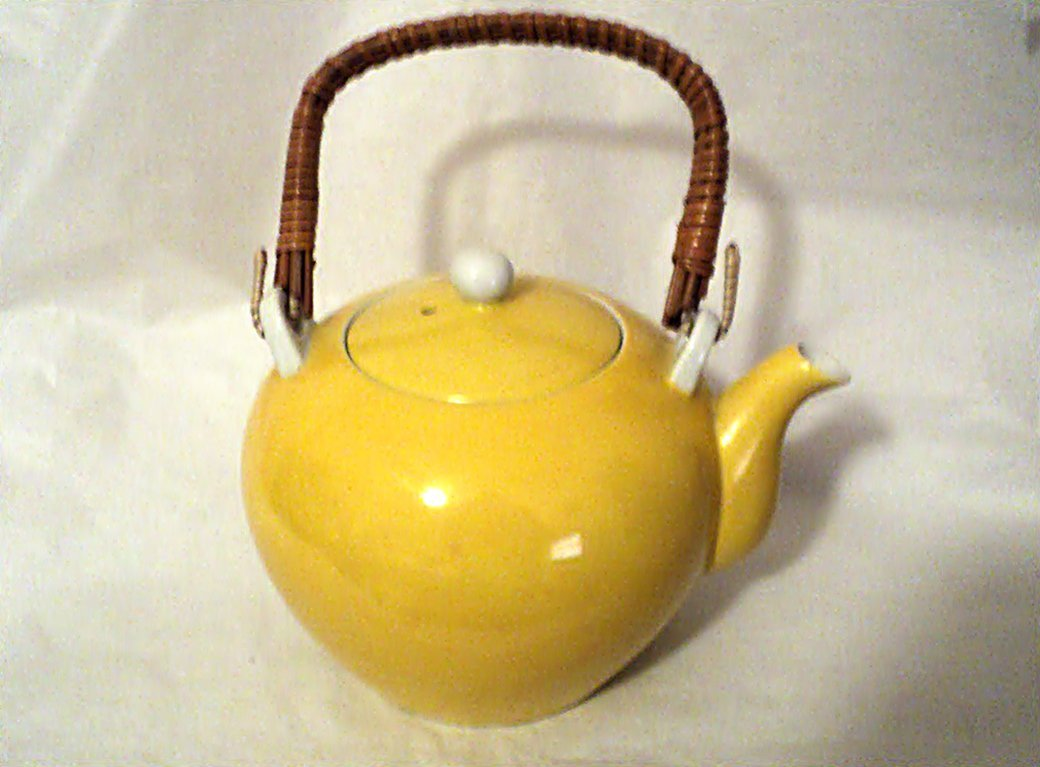 Yellow Ceramic Tea Pot with Removable Wicker Handle  #302227