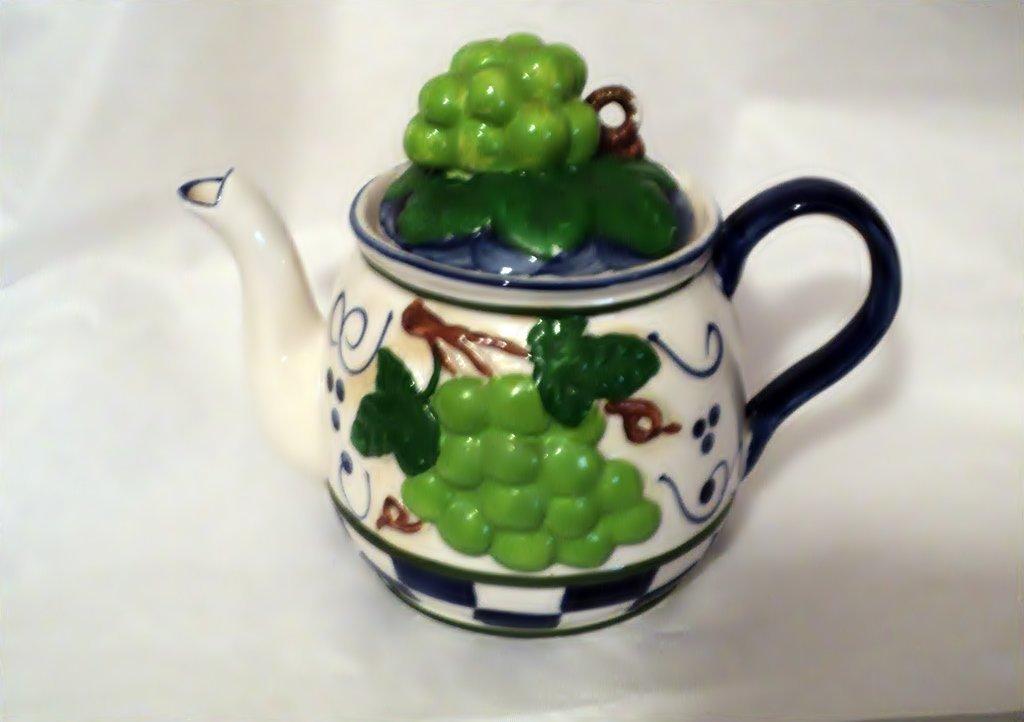 Ceramic Hand Painted Grape Theme Teapot Table China #302226