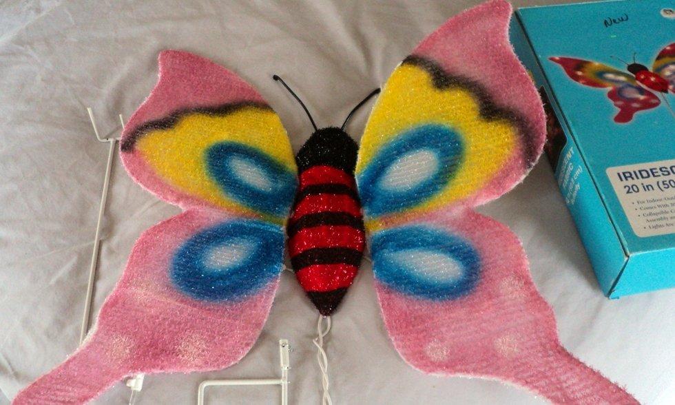 """Walmart 20"""" Iridescent Fabric Butterfly Lighten Sculpture   #302256"""