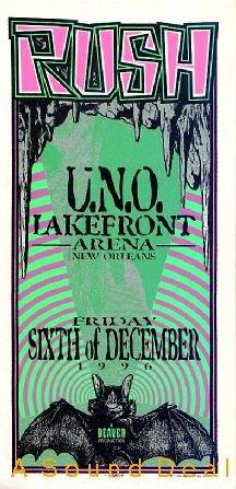 RUSH UNO New Orleans '96 Gig HANDBILL Silkscreen Poster