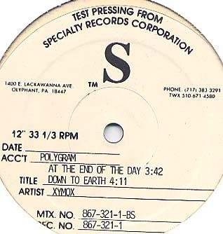 """XYMOX RARE DAY END'91 TEST PRESS ONLY DOWN TO EARTH 12"""""""