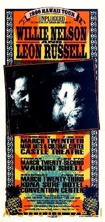 WILLIE NELSON LEON RUSSELL '96 Concert HANDBILL Poster