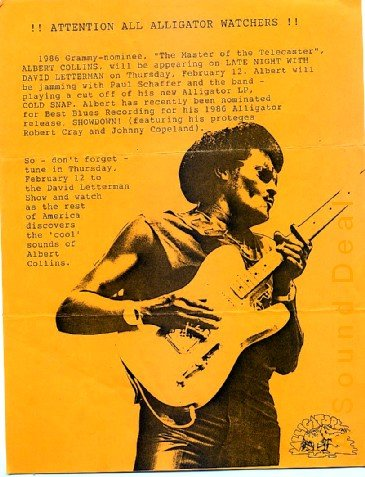 ALBERT COLLINS David Letterman BLUES'87 HANDBILL Poster
