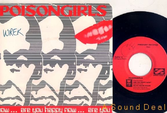"""POISON GIRLS '83 PS 7"""" ARE YOU HAPPY NOW? CRASS"""