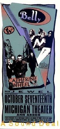 BELLY JEWEL Arminski Silkscreen '95 Gig HANDBILL Poster