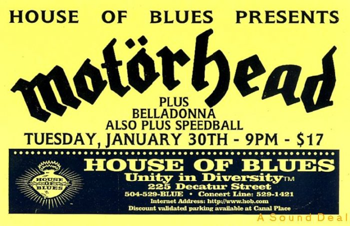 Motorhead House of Blues Gig HANDBILL Poster ASD