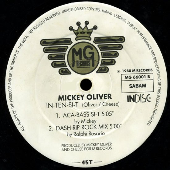 """MICKEY OLIVER '88 Belgian MG 12"""" ACID House IN-TEN-SI-T"""