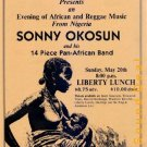 SONNY OKOSUN Texas '84 HANDBILL Poster Liberty Lunch