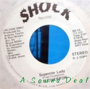 "CB OVERTON Superstar Lady 7"" EX 45 promo '78 Shock HEAR disco boogie"