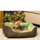Self Warming Lounger Dog/Cat Bed - Mocha & Green