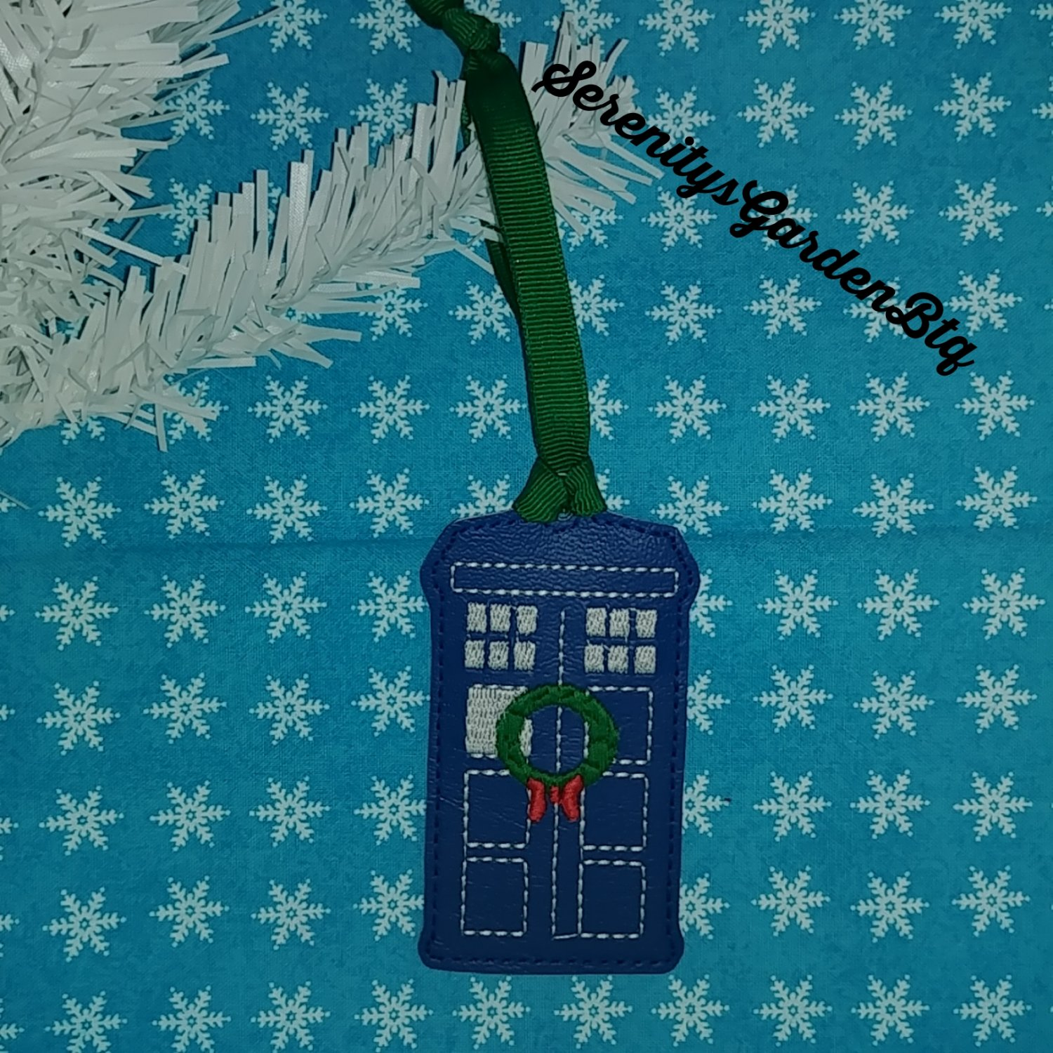 Dr who inspired police box Christmas ornament