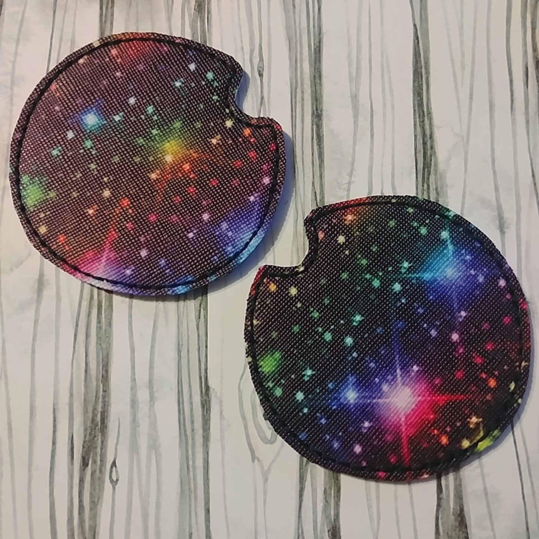 Galaxy rainbow printed vinyl car coaster set of 2 (2)