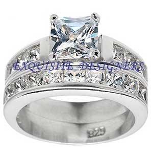 Gorgeous 2.2 carat Princess Cut Engagement Wedding Ring Set Size 5