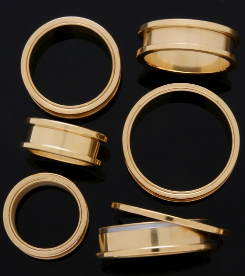 "Pair 1 & 1/4"" Inch Screw On Tunnels Ear Plugs Gold 31mm"