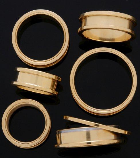 "1 & 1/2"" Inch Screw On Tunnels Ear Plugs Eyelets Gold 37mm"