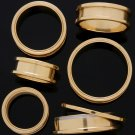 """Pair 1"""" Inch Screw On Tunnels Ear Plugs Eyelets Gold 24mm"""