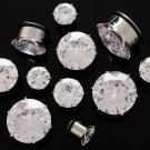 "Pair 9/16"" Inch Clear CZ Cubic Zirconia Bling Plugs 14mm"