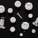 Pair 0 Gauge Clear CZ Cubic Zirconia Bling Plugs 8mm 0g