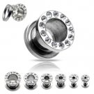 Pair 8 Gauge Clear CZ Cubic Zirconia Bling Screw On Tunnels