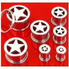 Pair 6 Gauge Steel Star Screw On Tunnels Ear Plugs 6g