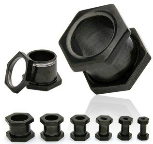 Pair 2 Gauge Black Hexagon Screw On Tunnels Ear Plugs 2g
