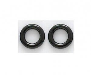 """Pair 6 Gauge Black Titanium Segment Hoop Earrings 1/2"""""""