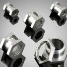 "Pair 7/16"" Steel Hexagon Screw On Tunnels Plugs 11mm"