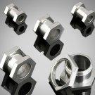 Pair 2 Gauge Steel Hexagon Screw On Tunnels Ear Plugs 2g