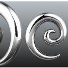 Pair 6 Gauge Steel Spiral Stretching Taper Earrings