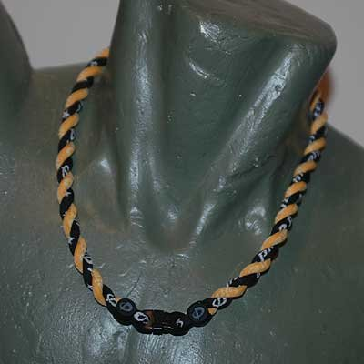 Phiten Titanium Tornado Necklace Black / Gold 18""