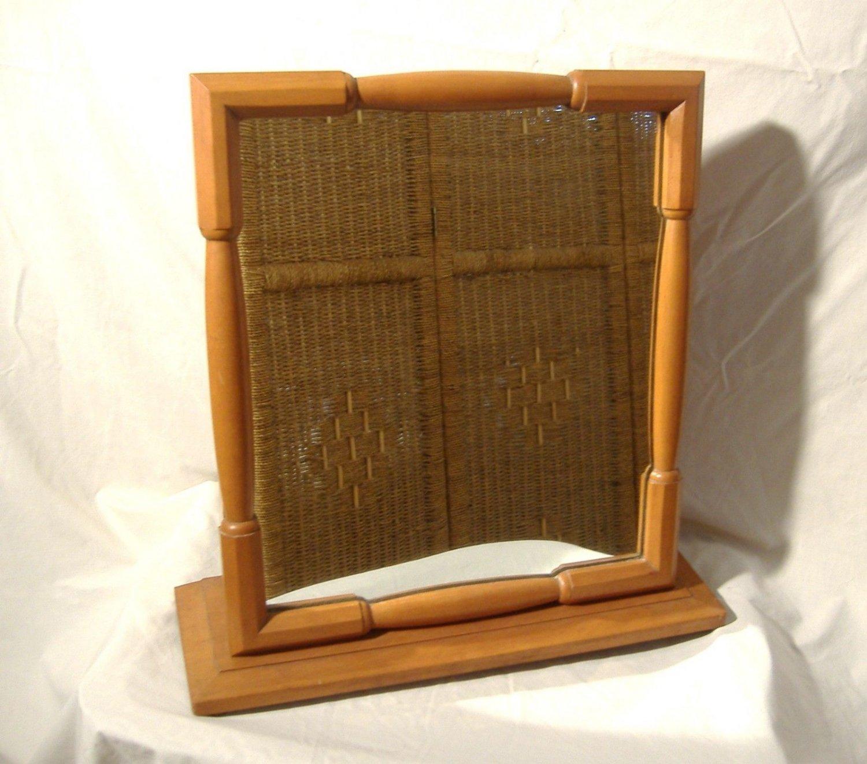 Vintage Dresser Shaving Mirror Logan Porter Davis Cabinet Co. Maple Beech Wood