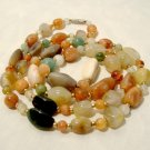 """Vintage Agate Carnelian Necklace Stone Beads 35"""" long"""