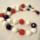 Red White Blue Beads Necklace Patriotic Milk Glass & Plastic Vintage Choker