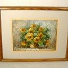 Impressionist Still Life Flowers Painting Vintage Oil on Canvas Signed T. Denver