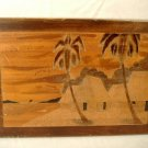 Carved Wood Tropical Landscape Plaque Vintage Wall Art Palm Trees Beach Huts