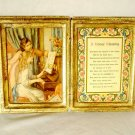Italian Florentine Gilt Wood Diptych A House Blessing Prayer Two Girls Piano
