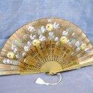 Hand Painted Linen Fan Flowers Antique Vintage Floral Pierced Celluloid