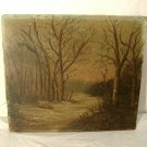 Antique Winter Landscape Painting Forest River F.W. DeVoe Academy Board AS-IS