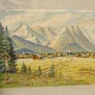 Vintage Gouache Mountain Landscape Painting Germany Garmisch Listed F. Hoffmann