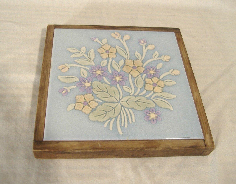 """Vintage Sassuolo Italy Tile Trivet Floral Pottery Wood Frame 6.5"""""""