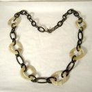 Talbots Chain Link Arcylic Necklace Black Faux Horn
