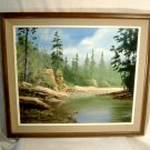 Pine Forest Creek Landscape Painting Vintage Southern Oil Board Signed W Horton