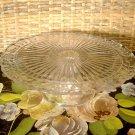"Vintage Pressed Glass Cake Stand Pedestal Leaf Vine Ray Pattern 9 1/2"""