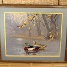 Mallard Ducks Embroidered Landscape Print Vintage Textile Fabric Art