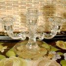 Vintage Pressed Glass Candelabra 2 arm 3 candle holder Round Base