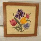 Vintage Wool Needlepoint Flowers Picture Tulips Irises Finished & Framed