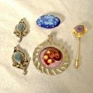 Vintage Enamel Copper Metal Pin Pendant Earrings Abstract Modern 4 pc Lot