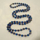 """Lapis Blue Stone Beads Necklace 40"""" long 8mm round Vintage re-strung"""