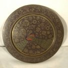 Vintage Peacocks Brass Wall Plate Etched Floral